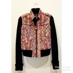 COOGI red black snake print textured jacket